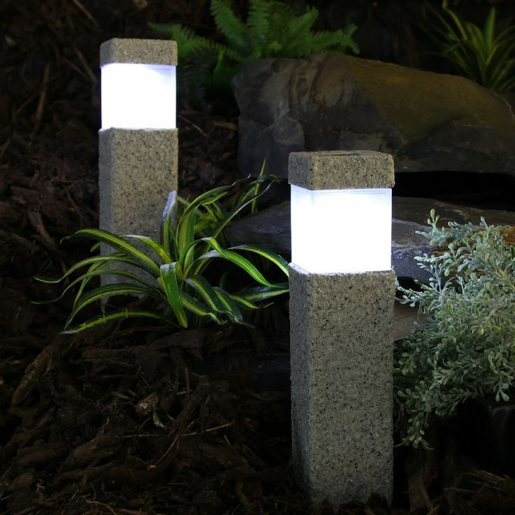 Nice Solar Path Lights Part - 6: 2 #Solar Powered LED Stone Effect Square Post Path Lights | Festive Lights  LTD