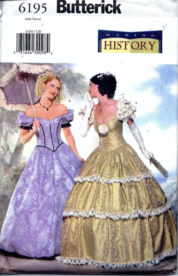 eafe54fab60 Butterick 6195 Civil War Southern Belle Ball Gown Dress Costume Sewing  Pattern Size 12