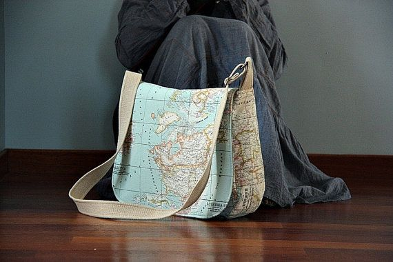 World Map Prints Large Messenger Bag  Eco-friendly Diaper Bag   Cross Body Bag  Tote Bag  Canvas Messenger