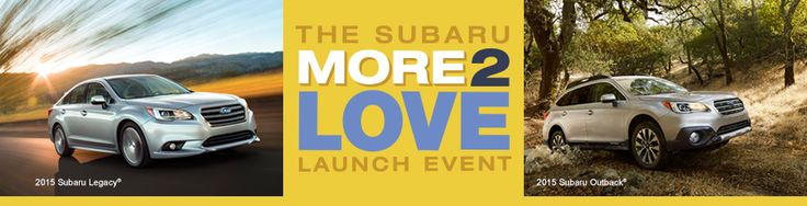 A one-time event. See two all-new Subaru vehicles. Hosted by Lithia Subaru of Fresno, August 22, from 11:00 a.m. to 6:00 p.m. at 5499 N. Blackstone ave, Fresno, CA. See firsthand why the 2015 Legacy is not just a sedan.  It's a Subaru. The longest-lasting midsize sedan in its class with Symmetrical All-Wheel Drive.  And learn about the most fuel-efficient midsize crossover in America, the 2015 Outback.