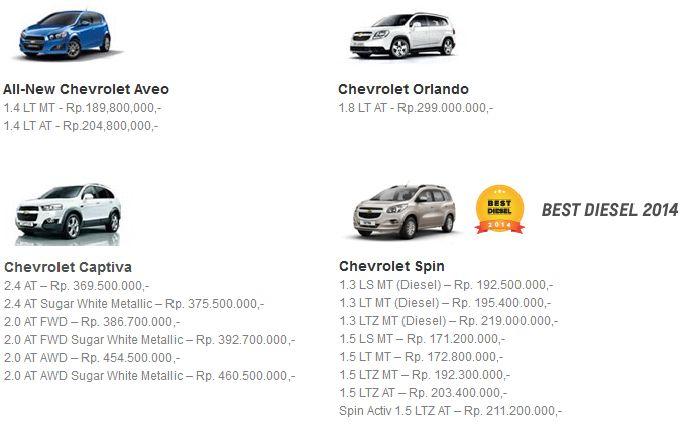 Dealer Chevrolet Bekasi: DAFTAR HARGA