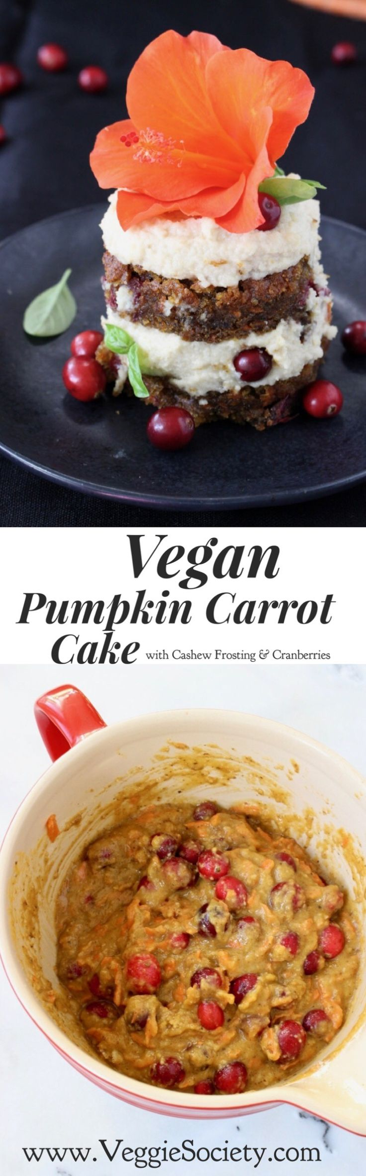 Vegan Pumpkin Carrot Cake Recipe with Cashew Frosting and Cranberries. No sugar, no eggs, no butter. Dairy free and good for you   VeggieSociety.com @VeggieSociety