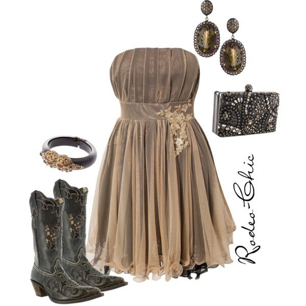 """Queen of the Silver Dollar"" by rodeo-chic on Polyvore, strapless chiffon lace dress with cowboy boots by @corralboots , western"