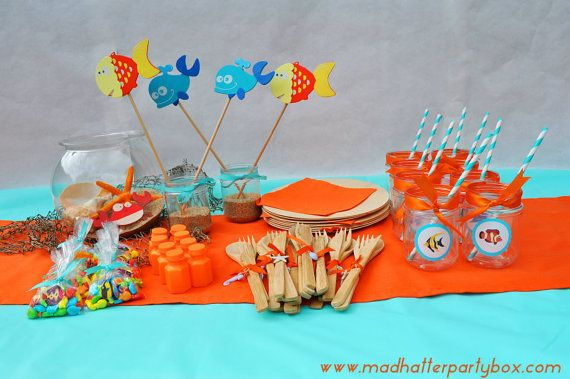 Ocean Party Supplies: Party Box for 8 - Under the Sea Party Centerpiece, Flatware, Plates, Table Dressing and Favors
