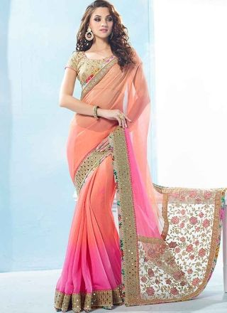 Blooming Pink And Peach Shaded Moti Work Lace Border Chiffon  Designer Sarees http://www.angelnx.com/Sarees