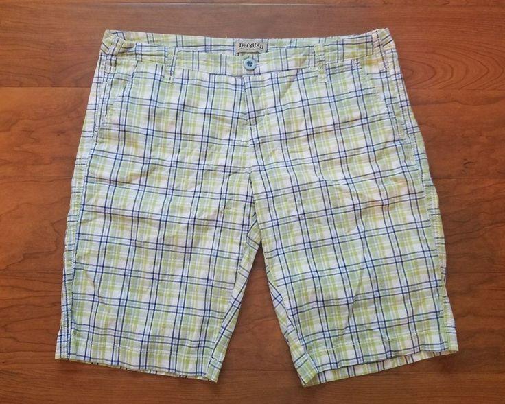 Decoded Bermuda Shorts Junior Size 9 Modest Preppy Green Blue Plaid  #Decoded #BermudaWalking