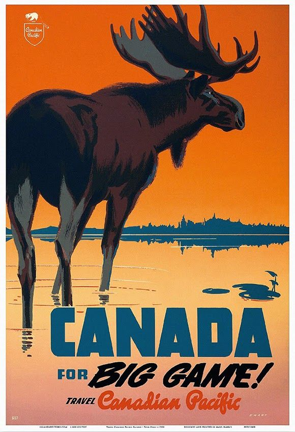 classic posters, free download, free printable, graphic design, printables, retro prints, travel, travel posters, vintage, vintage posters, vintage printables, wildlife, animal poster, Canada for Big Game! Travel Canadian Pacific - Vintage Canada Travel / Wildlife Poster