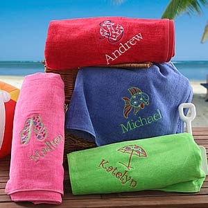 """Love these - never misplace or lose a towel again! Cute idea for kids - beach towels you can personalize with their name and cute """"Beach Fun"""" design! Gotta love the flip flops, sailor anchor and fish ... you get to pick the color, too! (only $32.95!) #Summer #Kids #ProductsILove #Towel #Beach #vacation #PMall.com"""