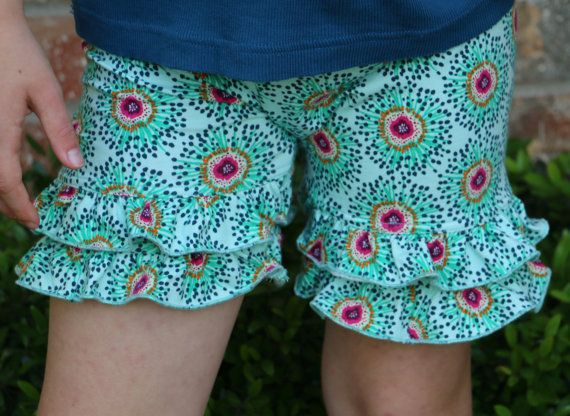 mint with navy and berry floral design knit double ruffle shorts shorties bloomers sizes 12m - 14 girls