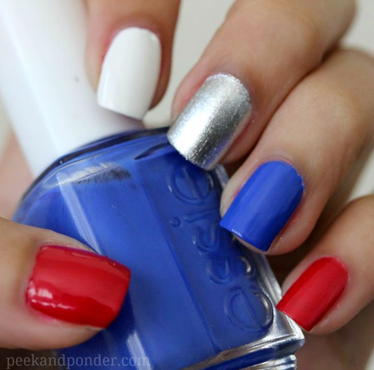 Nail Ideas: Fourth of July Red, White, Blue, and Silver Individual Nails