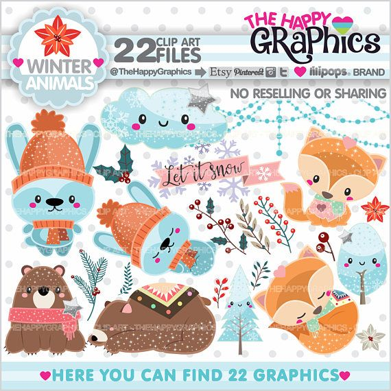 80%OFF Winter Clipart Winter Graphics COMMERCIAL USE