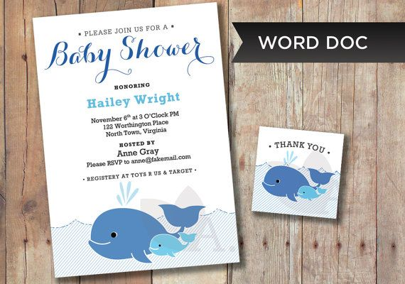 INSTANT DOWNLOAD  Baby Shower Whale Invitation by AGierDesign, $9.99