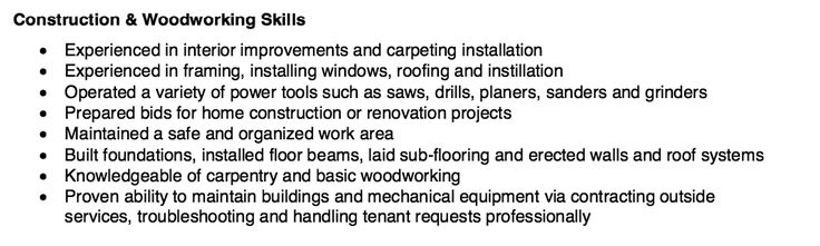 Construction \ Woodworking Resume Skills -    resumesdesign - master electrician resume