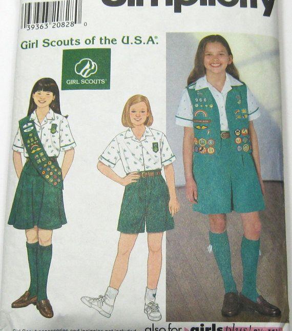 Girl Scout Uniform Pattern: 1990s Girls Scout Vest, Blouse, Skirt, Shorts, Culottes, Sash, Simplicity 0650, Size 7-16