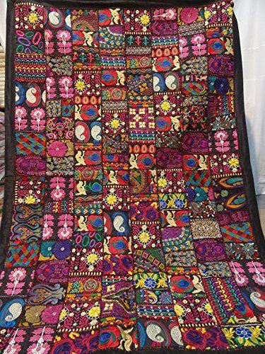 66 Best Cotton Handmade Tropican Floral Ikat Kantha Quilt