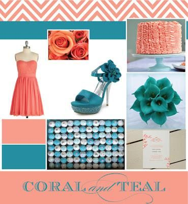 Add some gold accents to this Coral and Teal. Chevrons are a strong design element to compliment glam accents.