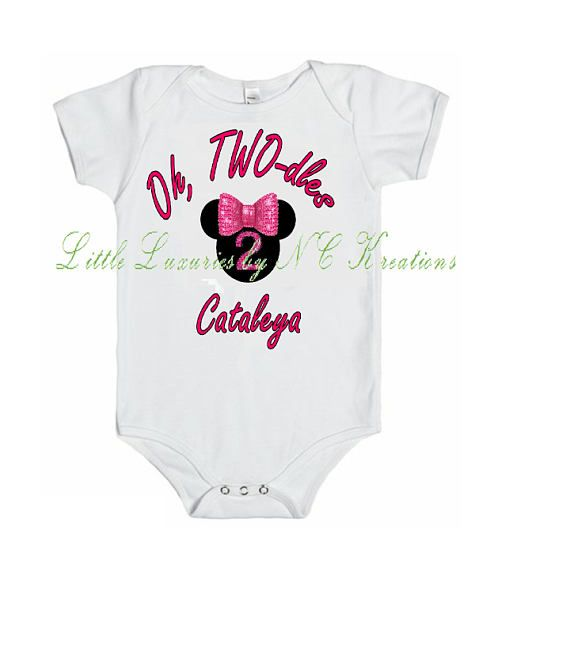Minnie Oh Two-dles Onesie or Tshirt.  Matching tutu and headband available.  Follow Little Luxuries by NC Kreations on Facebook and Instagram.
