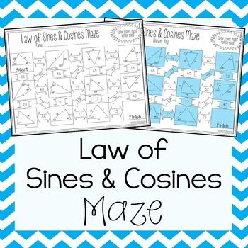 This self-checking maze has 11 problems involving the law of sines and the law of cosines. Students will be required to use both to solve for angles and sides of triangles.Answer key is included for easy checking.This product pairs very well with my Law of Sines and Law of Cosines Task CardsoClick Here for more Triangle & Trigonometry activitiesoClick Here for more Math MazesThis product is also part of the following money saving bundle:Right Triangles & Trigonometry Activity Bundle.