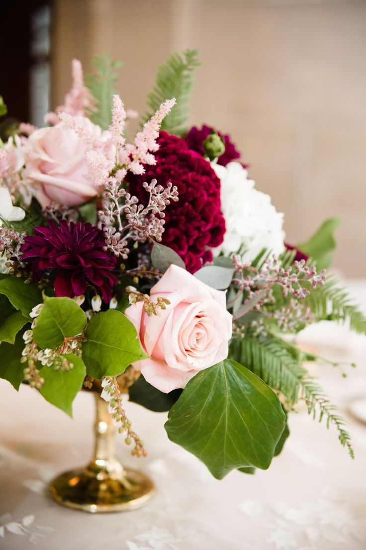 Burgundy dahlia, pink rose, seeded eucalyptus, wedding flowers, floral centerpiece // Amanda Megan Miller Photography