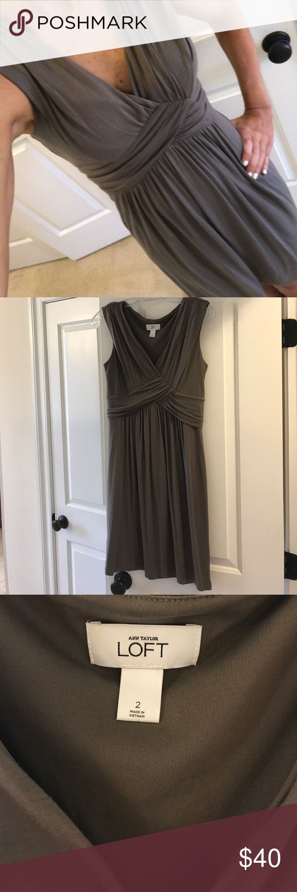 Anne Taylor Loft women's dress Anne Taylor Loft women's size 2 dress in mocha (light brown). Smoke-free, pet-free home. Only been worn a few times. Great condition. Super stretchy comfortable dress. Could be great for fall with a cardigan on top or nice for the summer with wedges. Dress it up or down. LOFT Dresses Midi