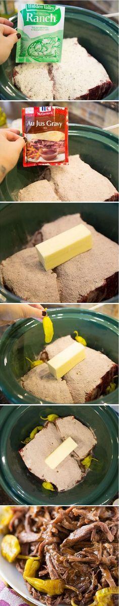 Mississippi Roast Recipe http://www.food.com/recipe/mississippi-roast-crockpot-491126