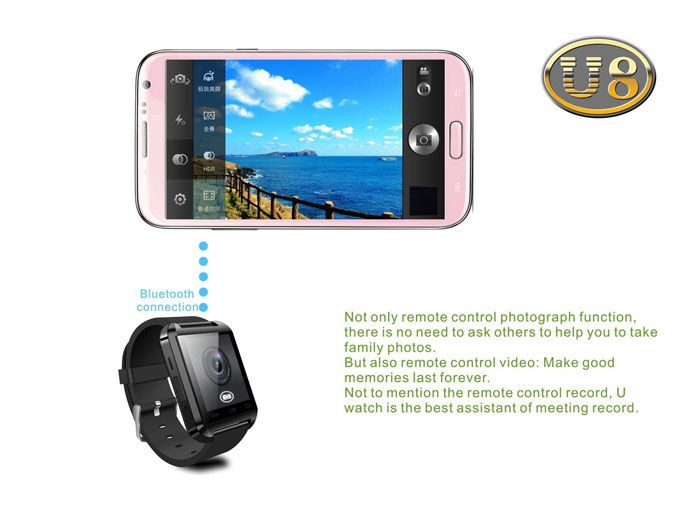 U8 SmartWatch Overview: This is a new Bluetooth Smart U Watch U8 which is compatible with all Bluetooth V2.0 or above enabled smartphones, TABLETS and PCs (support Android 2.3 or above),such as IPHONE 4, 4S, 5, 5S, Sumsung S3, S4, Note 2, Note 3, Note 4 etc.