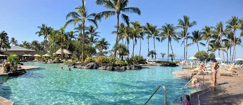 Free-form, 10,000-square-foot swimming pool at The Fairmont Orchid on the Kohala Coast