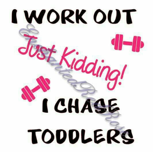 I work out, just kidding, i chase toddlers, women's shirt, exercise, dumbbells, funny, parent - pinned by pin4etsy.com