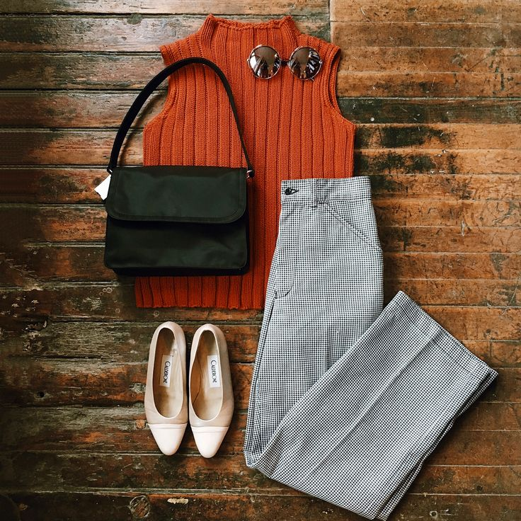 Found at Common Sort - ribbed knit top, houndstooth pants, gap purse, vintage calderone shoes and $10 sunnies