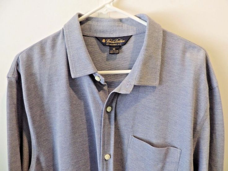 Brooks Brothers Mens Solid Blue Knit Style Button Front Shirt XL Mint Fast Ship #BrooksBrothers #ButtonFront