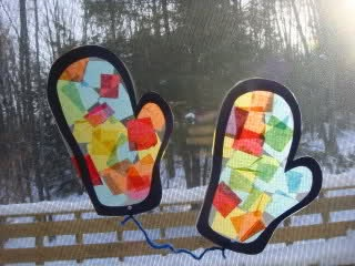 """Stained glass"" mittens - this would be fun to do on a light box, too! *repinned by wonderbaby.org"