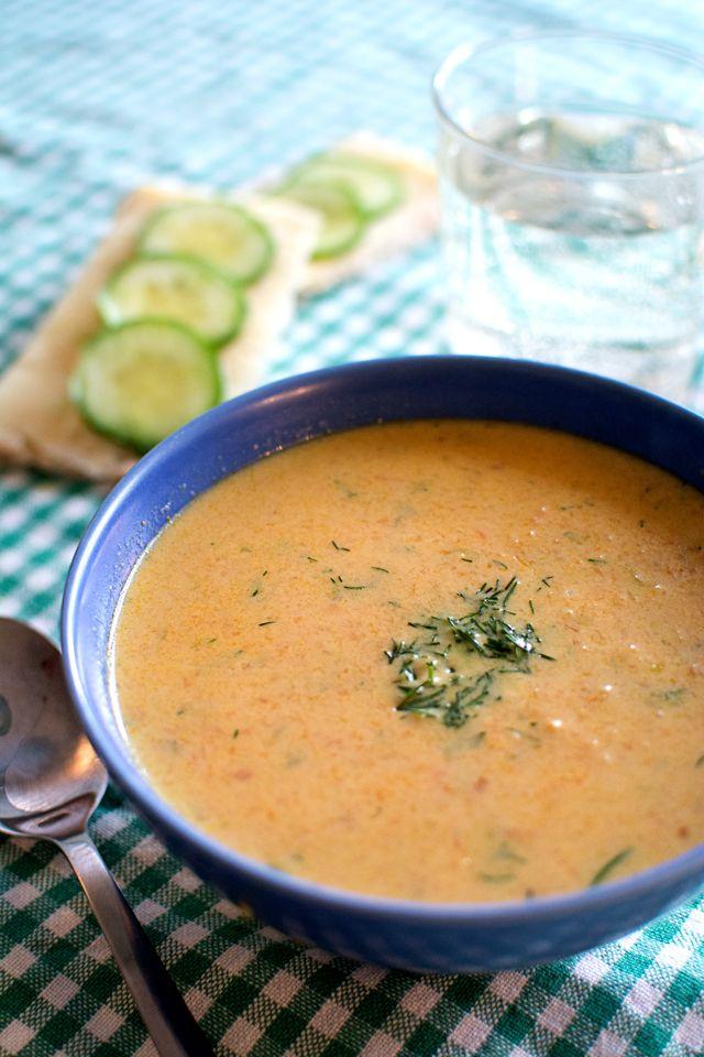 Räkost i soppa, krämig soppa med räkost och rotfrukter