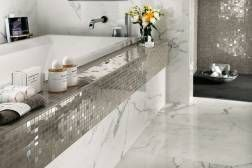 Atlas Concorde MARVEL Wall Design Calacatta Extra Shiny with sliver dream mosaic tiles
