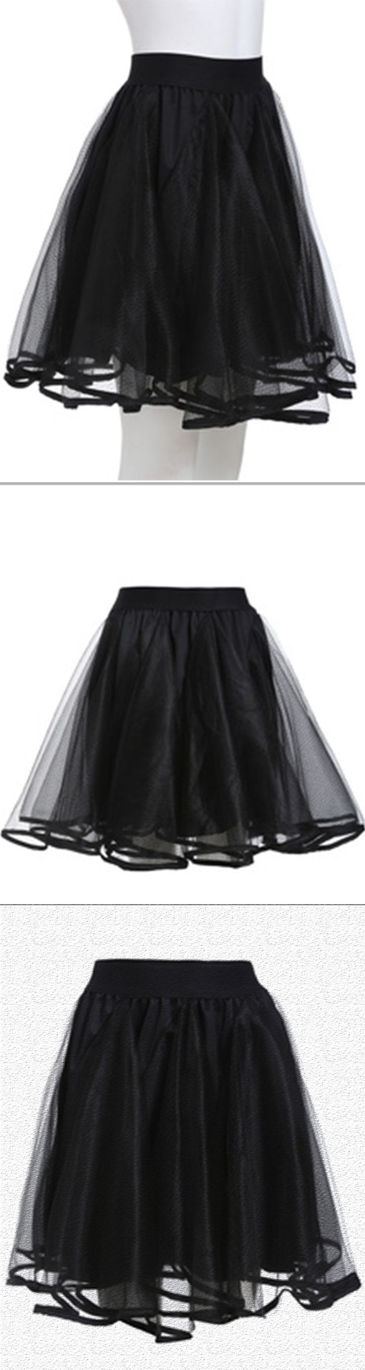Beautiful mesh skirt! This skirt is made by organza with elastic in waist .Cute and fashion for date day!