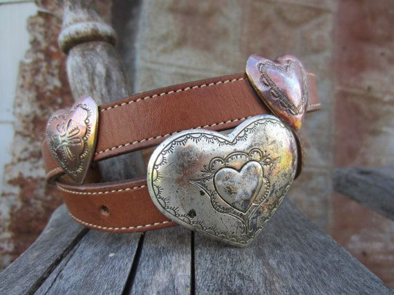 1991 Slim Sweetheart Western Belt, 30-34 in, 77-87 cm // Vintage 90s Leather Cowgirl Belt // Concho Belt