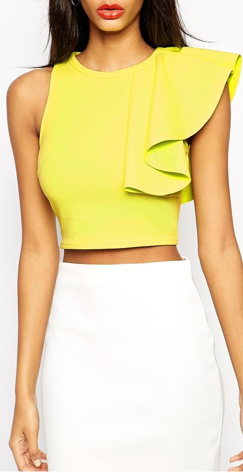 Crop Top in Texture with One Shoulder Ruffle