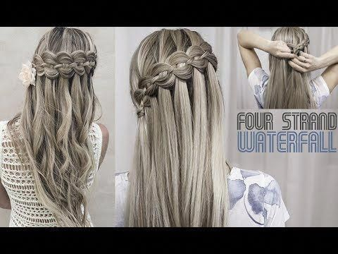 Four (4) Strand Waterfall Braid – DIY tutorial – YouTube #waterfallBraided
