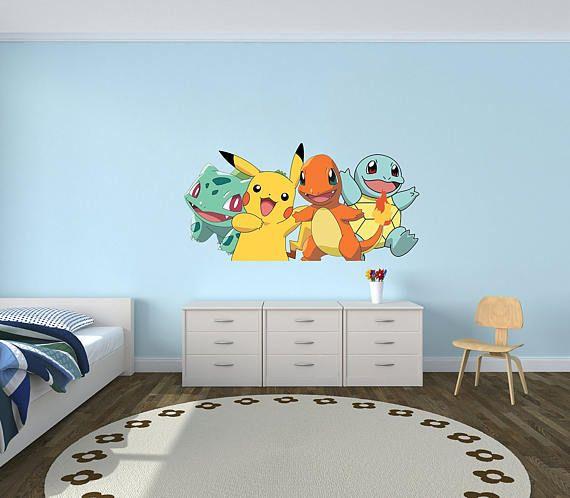 Pokemon GO Pikachu Charmander Bulbasaur Squirtle Wall Decal