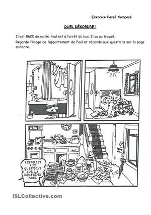 Exercice pour réviser le passé composé avec avoir. En regardant l'image de l'appartement de Monsieur Paul, vous pouvez inventer d'autres questions. Assez facile. Pour élèves de A1+. - Fiches FLE