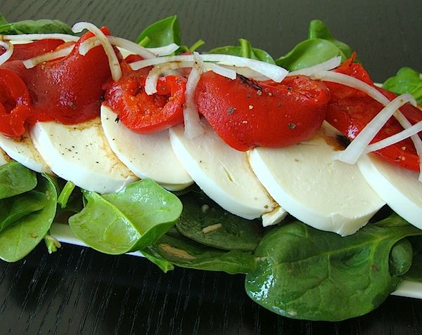 Mia's Domain | Real Food: Roasted Pepper Mozzarella Salad