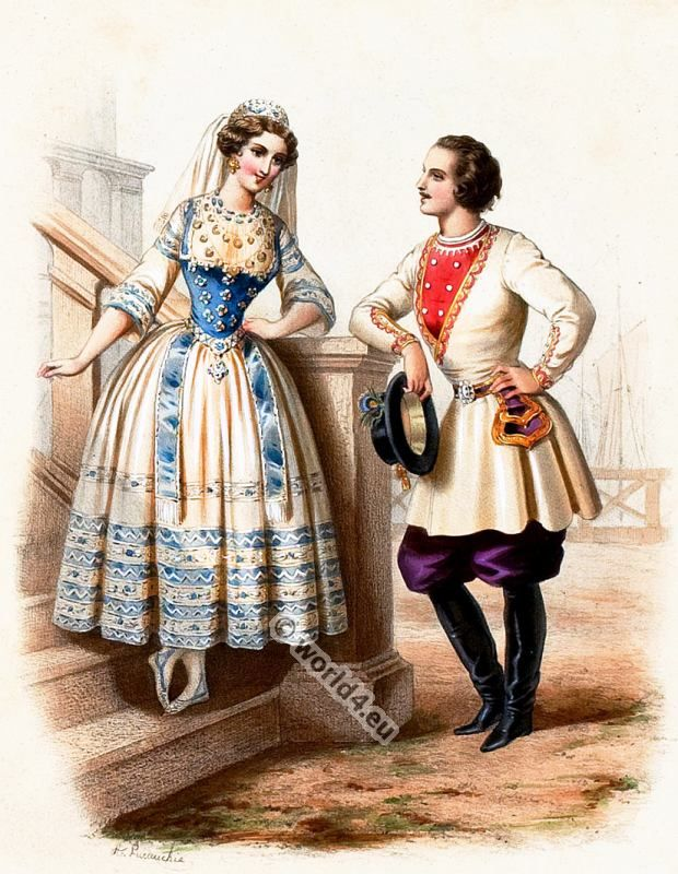 Traditional Finland costumes 1850s.