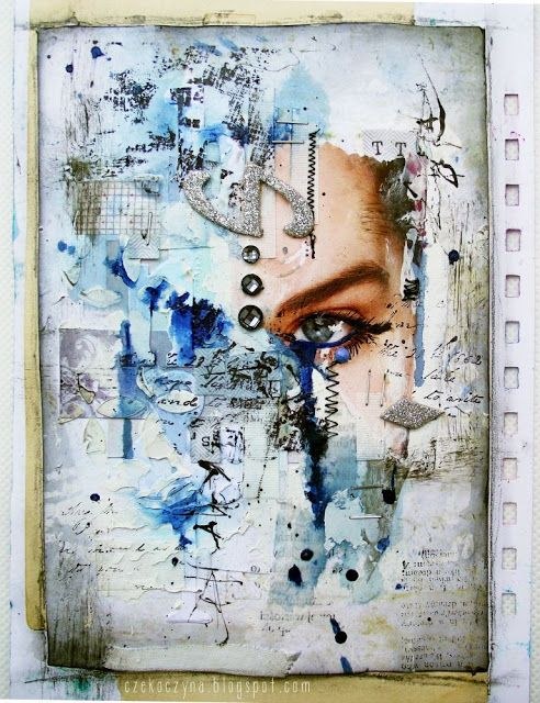 #papercrafting #artjournaling: Like the magazine face, looks like it is peeking through Fragility mixed media art journal page by Czekoczyna