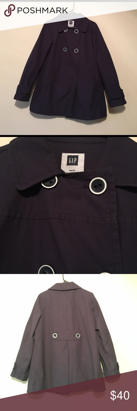 GAP coat Adorable GAP coat with front pockets and back slit...great condition...navy blue GAP Jackets & Coats Pea Coats