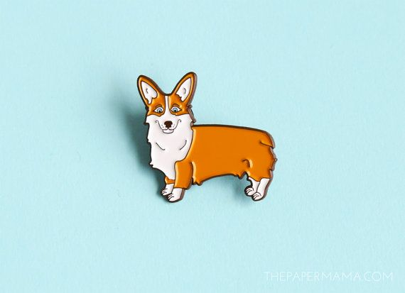Pembroke Welsh Corgi Enamel Lapel Pin  Button by thepapermamashop