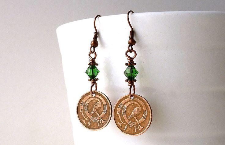 Irish earrings, Coin earrings, Celtic earrings, Bird earrings, May birthstone, Birds, Swarovski earrings, Kelly green, Bird jewelry, 1971 by CoinStories on Etsy