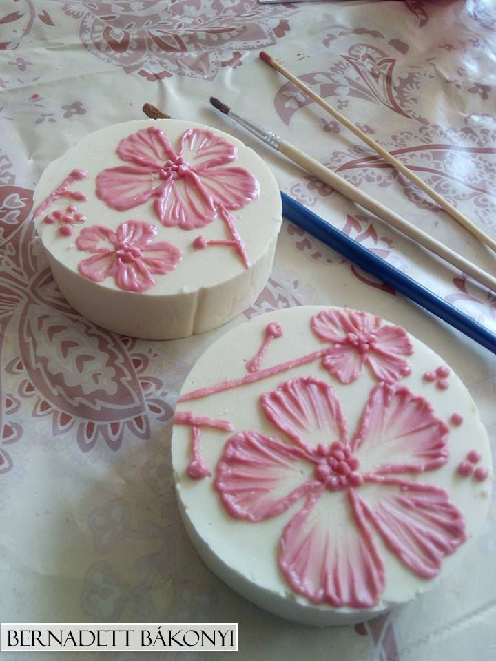 Cherryblossom Soap with brush embroidery technique