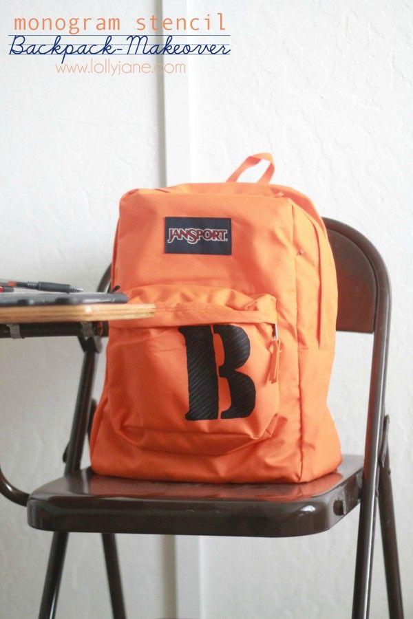 monogram stencil backpack makeover - Lolly Jane