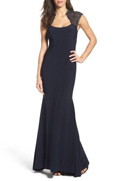 Main Image - Xscape Lace Inset Mermaid Gown (Regular & Petite)