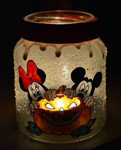 Hand painted glass candle holder for Halloween.