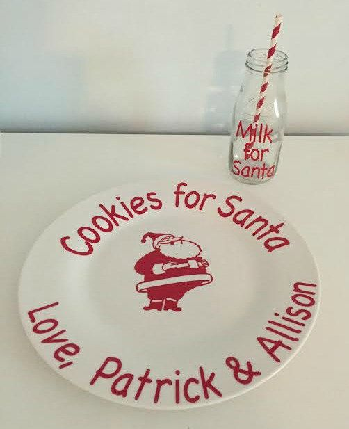 Cookies for Santa Plate and Vintage Milk by KarensVinylCreations